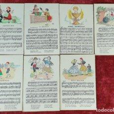 Postales: COLECCIÓN DE 7 POSTALES MUSICALES. COLOREADAS A MANO. CIRCA 1940. . Lote 160930402