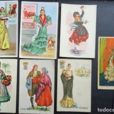 Postales: 7 POSTALES DIBUJOS TRAJES REGIONALES. Lote 161703454