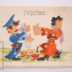 Postales: POSTAL INFANTIL ILUSTRADA POR MOURO - ARRÉSTEME, SARGENTO, Y PÓNGAME CADENAS... - SERIE 1013. Lote 162584706
