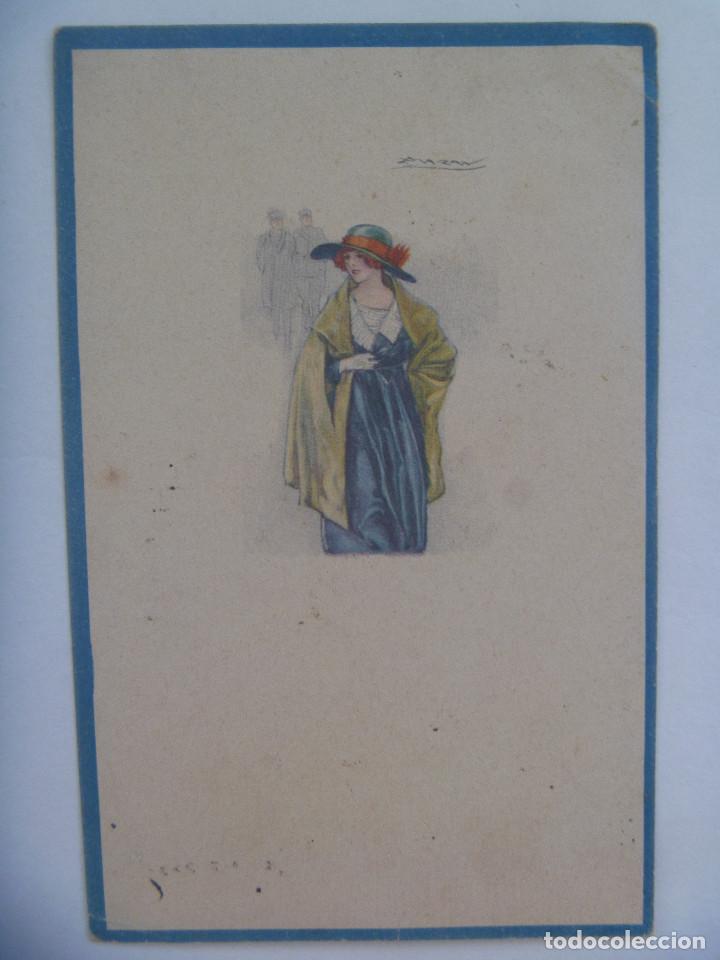 POSTAL CON DIBUJO DE MUJER ELEGANTE . PRINCIPIOS SIGLO. CIRCULADA DE SEVILLA A CHIPIONA (Postales - Dibujos y Caricaturas)