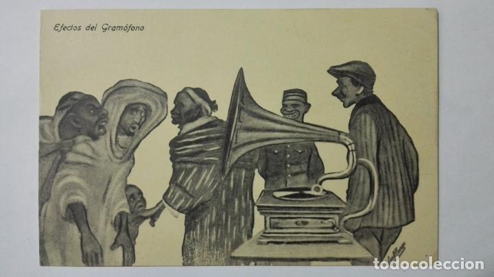 ANTIGUA POSTAL HUMORISTICA, EFECTOS DEL GRAMOFONO, EDICION BOIX HERMANOS, MELILLA (Postales - Dibujos y Caricaturas)