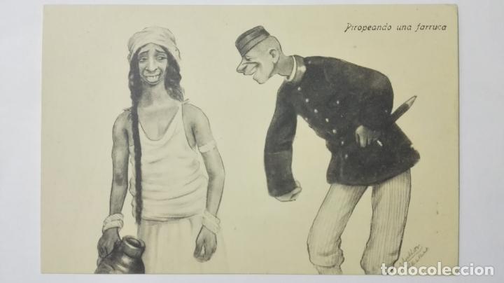 ANTIGUA POSTAL HUMORISTICA, PIROPEANDO UNA FARRUCA, EDICION BOIX HERMANOS, MELILLA (Postales - Dibujos y Caricaturas)