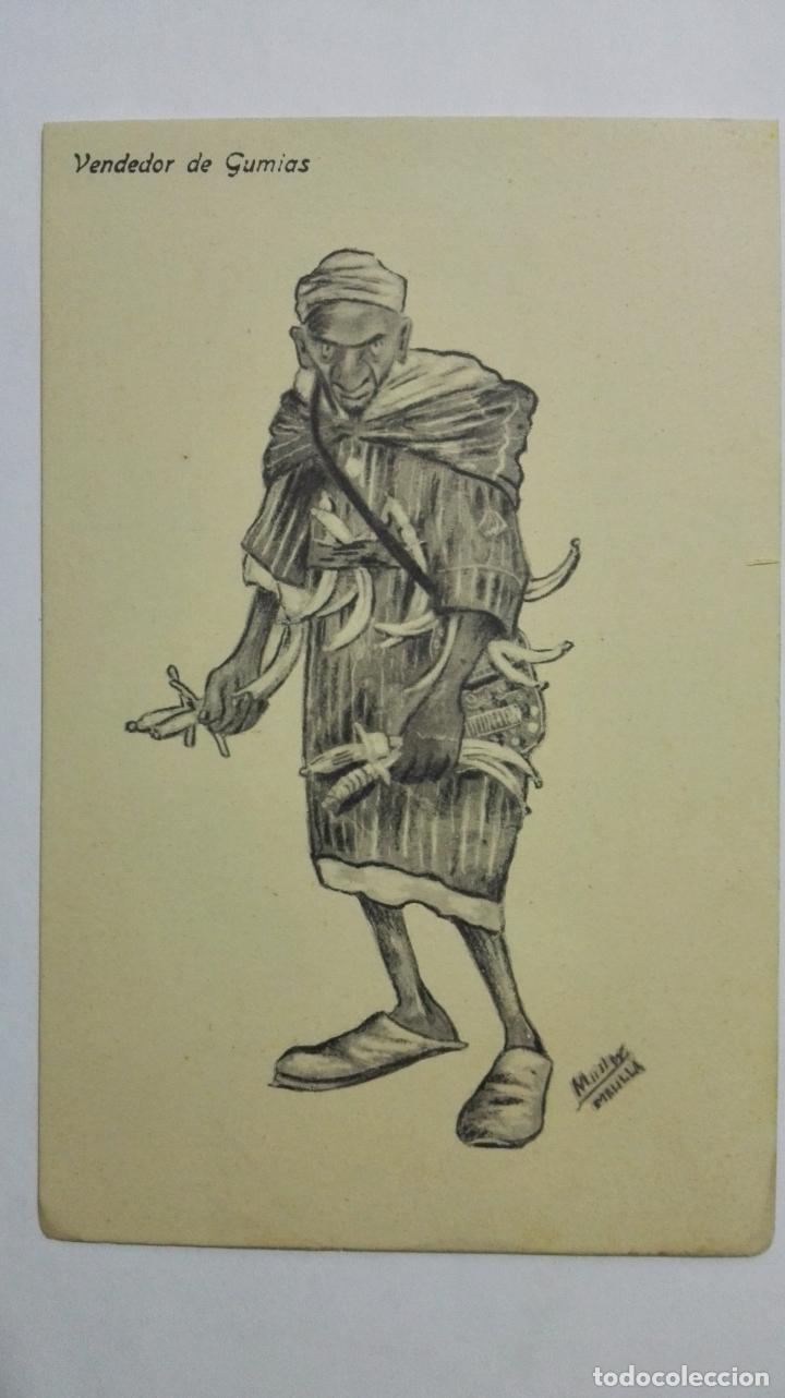 ANTIGUA POSTAL HUMORISTICA, VENDEDOR DE GUMIAS, EDICION BOIX HERMANOS, MELILLA (Postales - Dibujos y Caricaturas)
