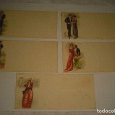 Postales: LOTE DE 5 ANTIGUAS POSTALES ROMANTICAS , 13 X 6 CM,SIN ESCRIBIR. Lote 165926366