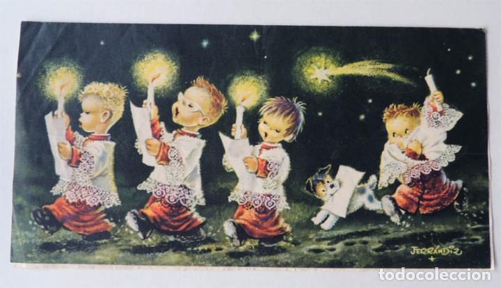 FERRANDIZ POSTAL NAVIDAD / SUBI-DIZ ( S-1512/3 ) AÑO 1958 / DIPTICO (Postales - Dibujos y Caricaturas)