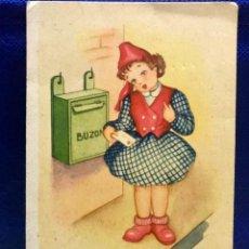 Postales: POSTAL DIBUJO ACG NIÑA COLOREADA CON CARA 1950 CARTAS VAN Y VIENEN MONFORT . Lote 168402912