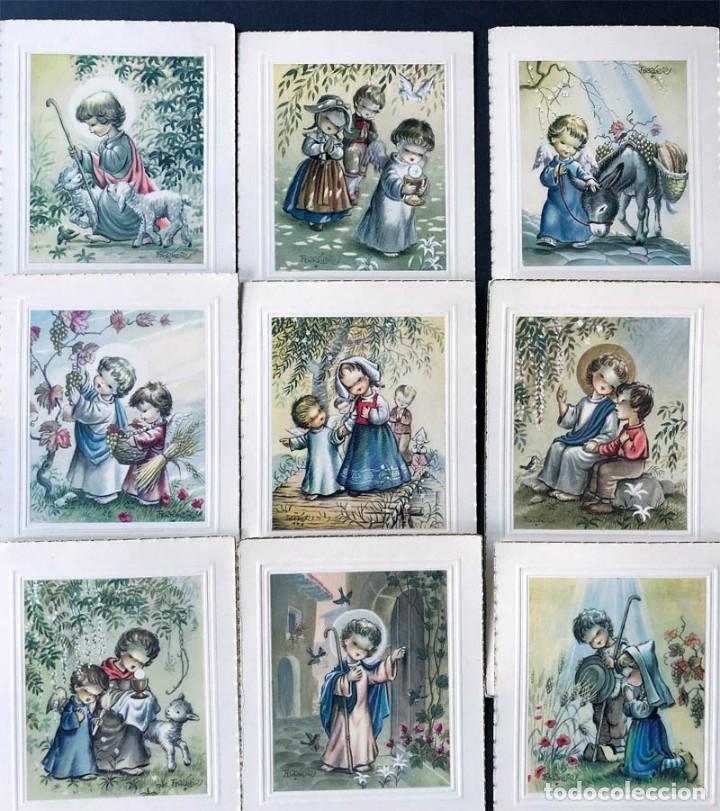 FERRANDIZ / 9 RECORDATORIOS COMUNION DIFERENTES - AÑOS 60 / SUBI / SIN USAR (Postales - Dibujos y Caricaturas)