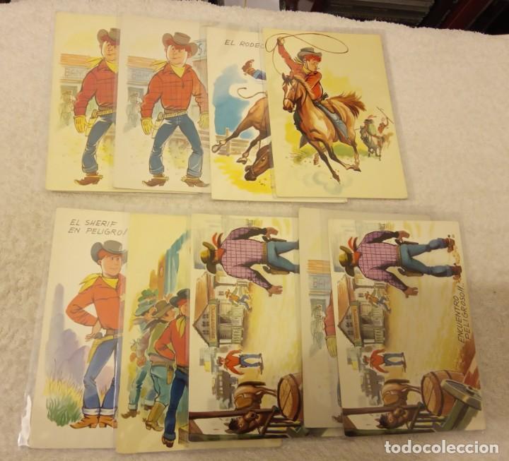 -LOTE DE 9 POSTALES SERIE COW BOYS AÑOS 60-70 SIN ESCRIBIR EN BUEN ESTADO (Postales - Dibujos y Caricaturas)