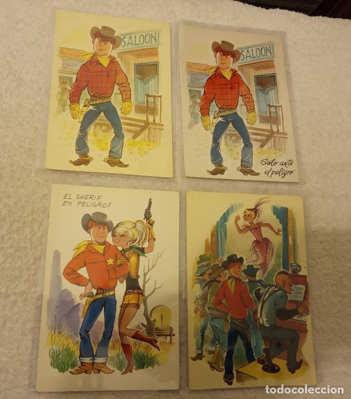 Postales: -LOTE DE 9 POSTALES SERIE COW BOYS AÑOS 60-70 SIN ESCRIBIR EN BUEN ESTADO - Foto 2 - 168956656