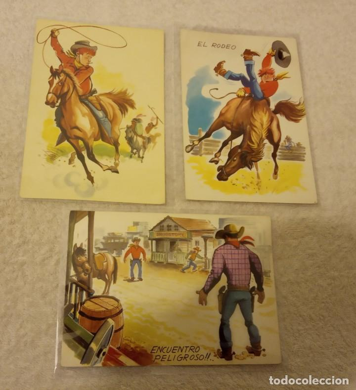 Postales: -LOTE DE 9 POSTALES SERIE COW BOYS AÑOS 60-70 SIN ESCRIBIR EN BUEN ESTADO - Foto 4 - 168956656