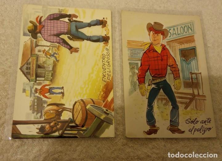 Postales: -LOTE DE 9 POSTALES SERIE COW BOYS AÑOS 60-70 SIN ESCRIBIR EN BUEN ESTADO - Foto 6 - 168956656
