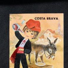 Postales: POSTAL DE DIBUJO TÍPICO CATALÁN BORDADO CON HILO COSTA BRAVA. Lote 169309672