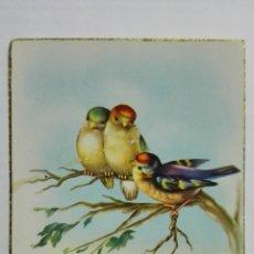 Postales: POSTAL, FELICIDADES PAJARITOS CON FLORES, AÑO 1952. Lote 171430093