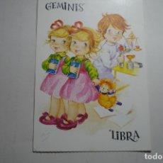 Postales: POSTAL HOROSCOPO GEMINIS LIBRA -DIBUJO ALONSO CIRCULADA . Lote 171439860