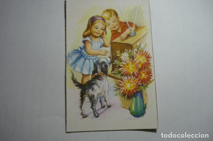 POSTAL NIÑOS ESCUCHANDO LA RADIO-DIBUJO GIRONA ESCRITA (Postales - Dibujos y Caricaturas)