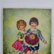 Postales: POSTAL, PAREJA CON FLORES, AÑO 1940. Lote 171527827