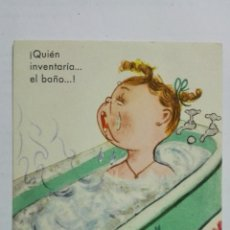 Postales: POSTAL, QUIEN INVENTARIA EL BAÑO, SERIE 14 Nº 6, AÑO 1940. Lote 171528078