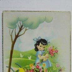 Postales: POSTAL, FELICIDADES, NIÑA CON CARRETILLA DE FLORES, AÑOS 50. Lote 171533068