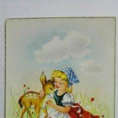 Postales: POSTAL, NIÑA CON CERVATILLO, AÑO 1956, EDICIONES JRR. Lote 171601468