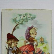 Postales: POSTAL, NIÑA Y NIÑO TOCANDO LA GAITA, AÑOS 50. Lote 171601557