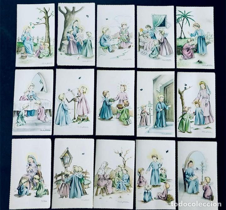 M.A. PRUNA / 15 RECORDATORIOS COMUNION / ANGEL DE LA GUARDA- AÑOS 70 / SIN USAR (Postales - Dibujos y Caricaturas)