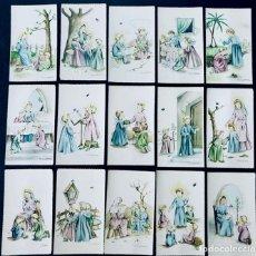 Postales: M.A. PRUNA / 15 RECORDATORIOS COMUNION / ANGEL DE LA GUARDA- AÑOS 70 / SIN USAR. Lote 171763379