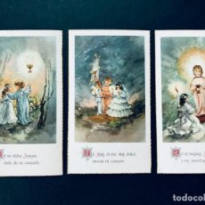 Postales: 3 RECORDATORIOS COMUNION / SERIE ROSA - AÑOS 70 / SIN USAR. Lote 171763650