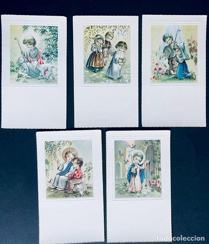 FERRANDIZ / 5 RECORDATORIOS COMUNION DIFERENTES - AÑOS 60 / SUBI / SIN USAR (Postales - Dibujos y Caricaturas)