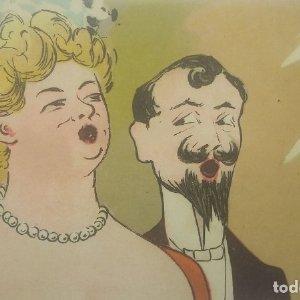 Postal cantantes. Caricaturas. Sin circular