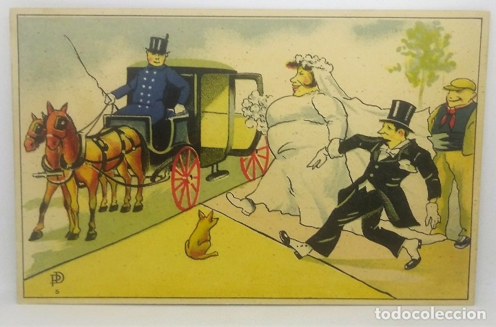 Novios Boda Caricatura postal antigua