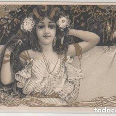 Postales: POSTAL ILUSTRADA MODERNISTA. ART NOUVEAU. MUJER CON FLOR. REVERSO SIN DIVIDIR. SIN CIRCULAR. . Lote 175991885