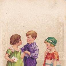 Postales: POSTAL DOS NIÑAS CON UN NIÑO ED. AMAG Nº 2467 (ESCRITA). Lote 176853159