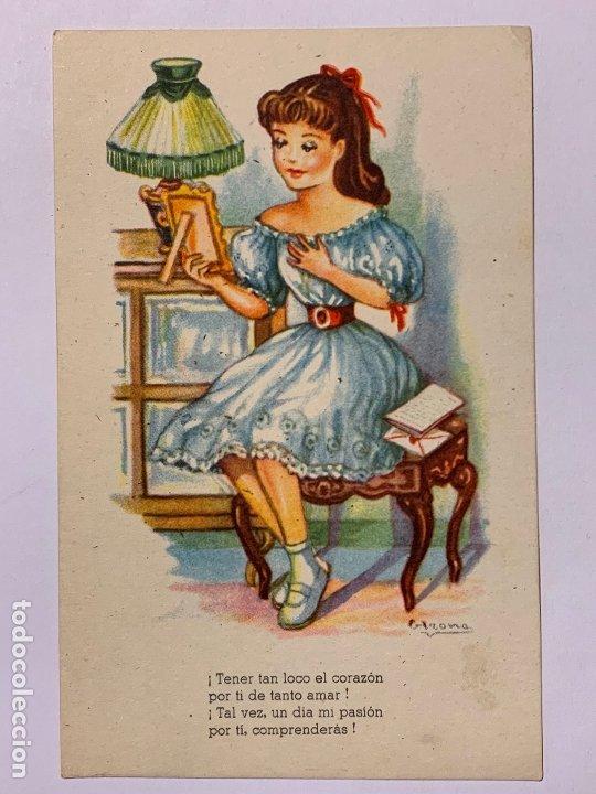 POSTAL ILUSTRADA GIRONA MELODIAS SELECTAS MI LOCO CORAZÓN. EDITORIAL ARTIGAS SERIE 171. (Postales - Dibujos y Caricaturas)