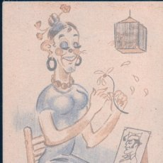 Postales: POSTAL DIBUJO ILUSTRADO POR RICHE - EDICIONES CELTA - MUJER DESOJANDO MARGARITA - JAULA - MILITAR. Lote 177865415