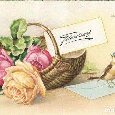 Postales: == PH1049 - POSTAL - FELICIDADES - CESTA DE ROSAS Y PAJARITO. Lote 178116285