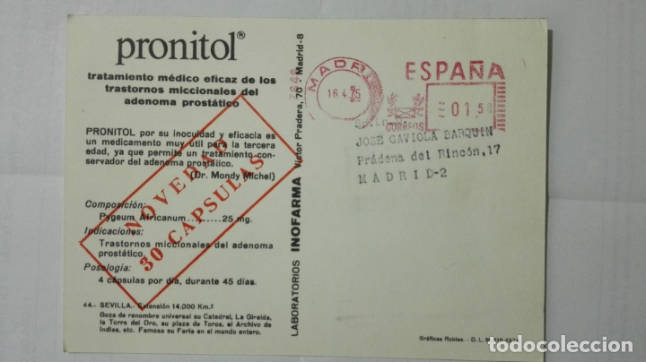 Postales: POSTAL TRAJES REGIONALES SEVILLA, PUBLICIDAD FARMACIA PRONITOL - Foto 2 - 178125697