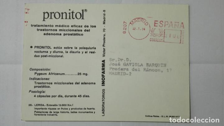 Postales: POSTAL TRAJES REGIONALES LERIDA, PUBLICIDAD FARMACIA PRONITOL - Foto 2 - 178125774