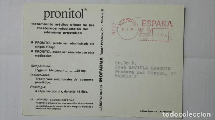 Postales: POSTAL TRAJES REGIONALES LOGROÑO, PUBLICIDAD FARMACIA PRONITOL - Foto 2 - 178125922