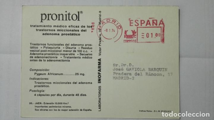 Postales: POSTAL TRAJES REGIONALES JAEN, PUBLICIDAD FARMACIA PRONITOL - Foto 2 - 178126009