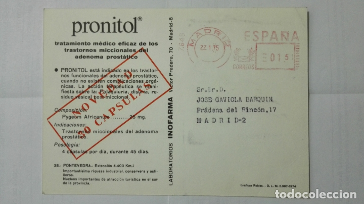 Postales: POSTAL TRAJES REGIONALES PONTEVEDRA, PUBLICIDAD FARMACIA PRONITOL - Foto 2 - 178126534