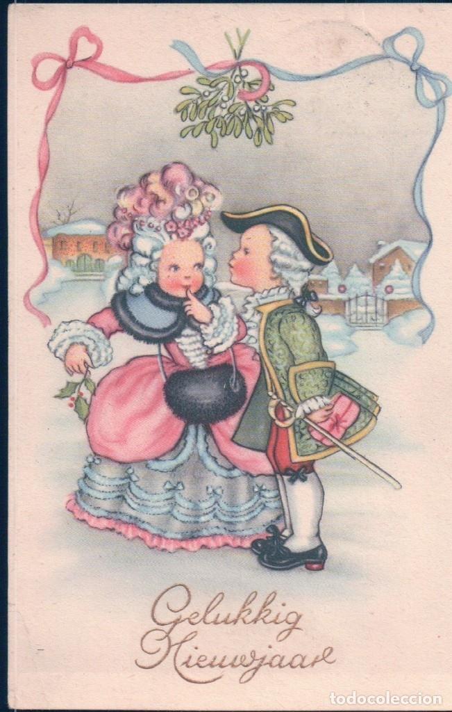 POSTAL CARICATURA PAREJA DISFRAZADOS- CIRCULADA 596 (Postales - Dibujos y Caricaturas)