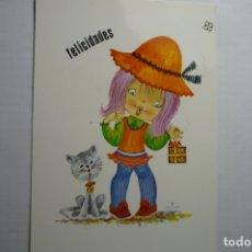 Postales: POSTAL NIÑA CON REGALO - DIBUJO CHUP ESCRITA. Lote 179077085