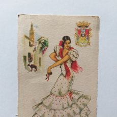 Postales: POSTAL ILUSTRADA. TRAJE REGIONAL. MUJER VESTIDA CON TRAJE TÍPICO DE SEVILLA. Lote 180013035
