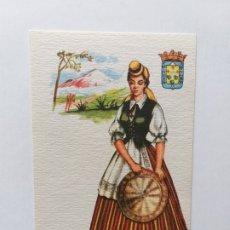 Postales: POSTAL ILUSTRADA. TRAJE REGIONAL. MUJER VESTIDA CON TRAJE TÍPICO DE TENERIFE (ISLAS CANARIAS). Lote 180013517