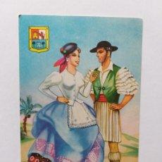Postales: POSTAL ILUSTRADA. TRAJE REGIONAL.PAREJA VESTIDOS CON TRAJE TÍPICO DE GRAN CANARIA. Lote 180016461