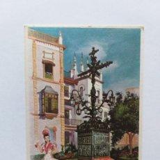 Postales: TARJETA ILUSTRADA. TRAJE REGIONAL SEVILLANA Y MONUMENTO DE SEVILLA. . Lote 180018788