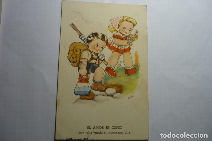 POSTAL EL AMOR ES CIEGO .-DIBUJO BOMBON -CIRCULADA (Postales - Dibujos y Caricaturas)