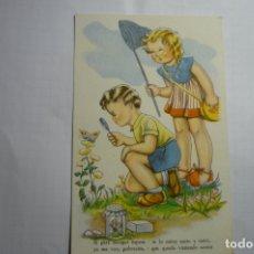 Postales: POSTAL DIBUJO BOMBON -NIÑOS CAZANDO MARIPOSAS.-ESCRITA. Lote 180489212