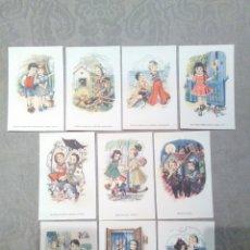 Postales: COLECCION 10 POSTALES SIN CIRCULAR FENIX TEMA INFANTIL SERIE 3054 EDITORIAL ARTIGAS. Lote 182320765
