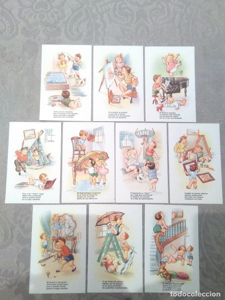 COLECCION 10 POSTALES ANTIGUAS SIN CIRCULAR TEMA INFANTIL CON RIMAS ESTAMPERIA RAM BARCELONA (Postales - Dibujos y Caricaturas)